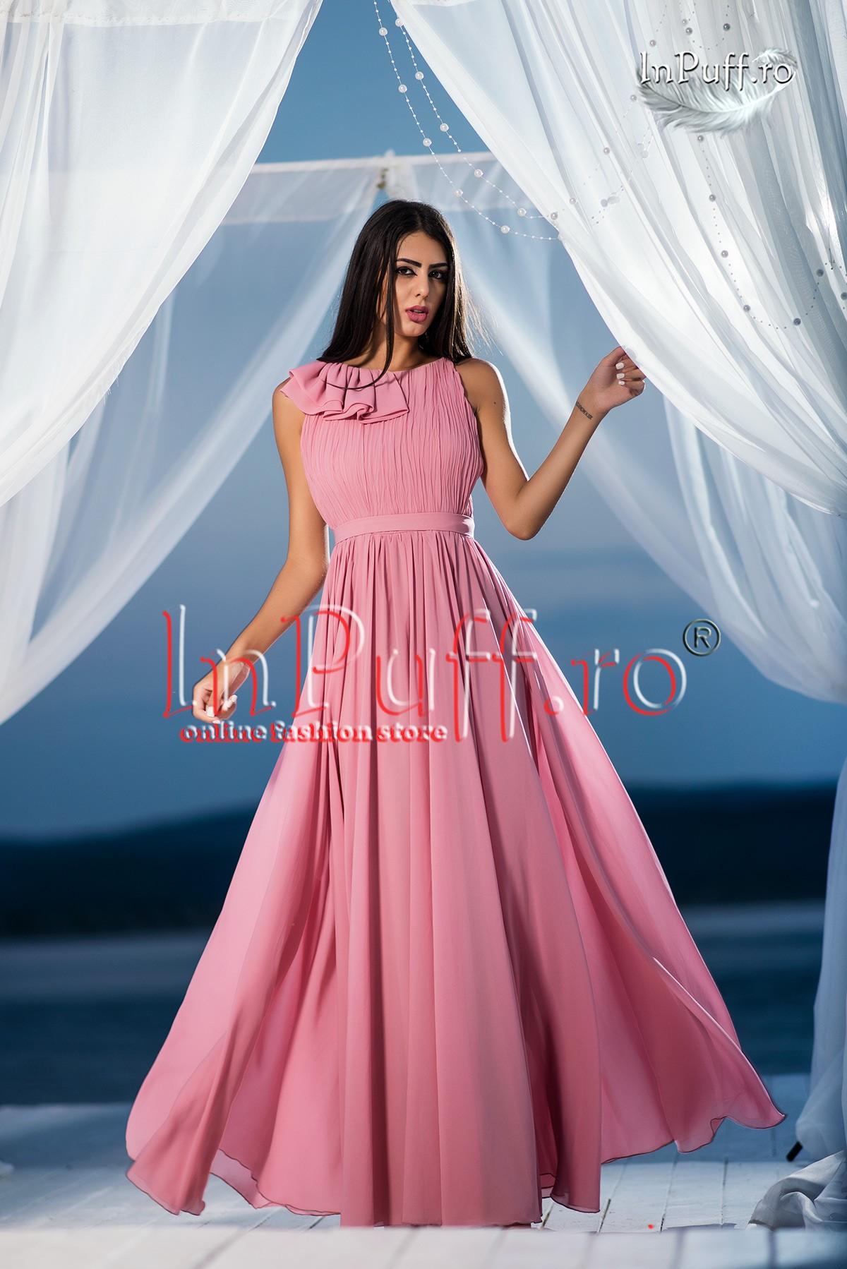 Promotii Rochie Lunga De Seara Voal Rose Reduceri Fashion Days Si
